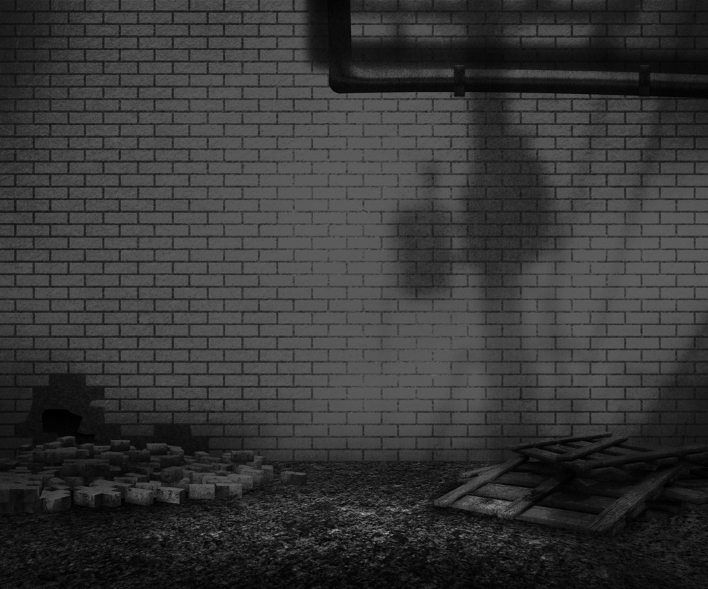 Grunge Gray Brick Backyard Background