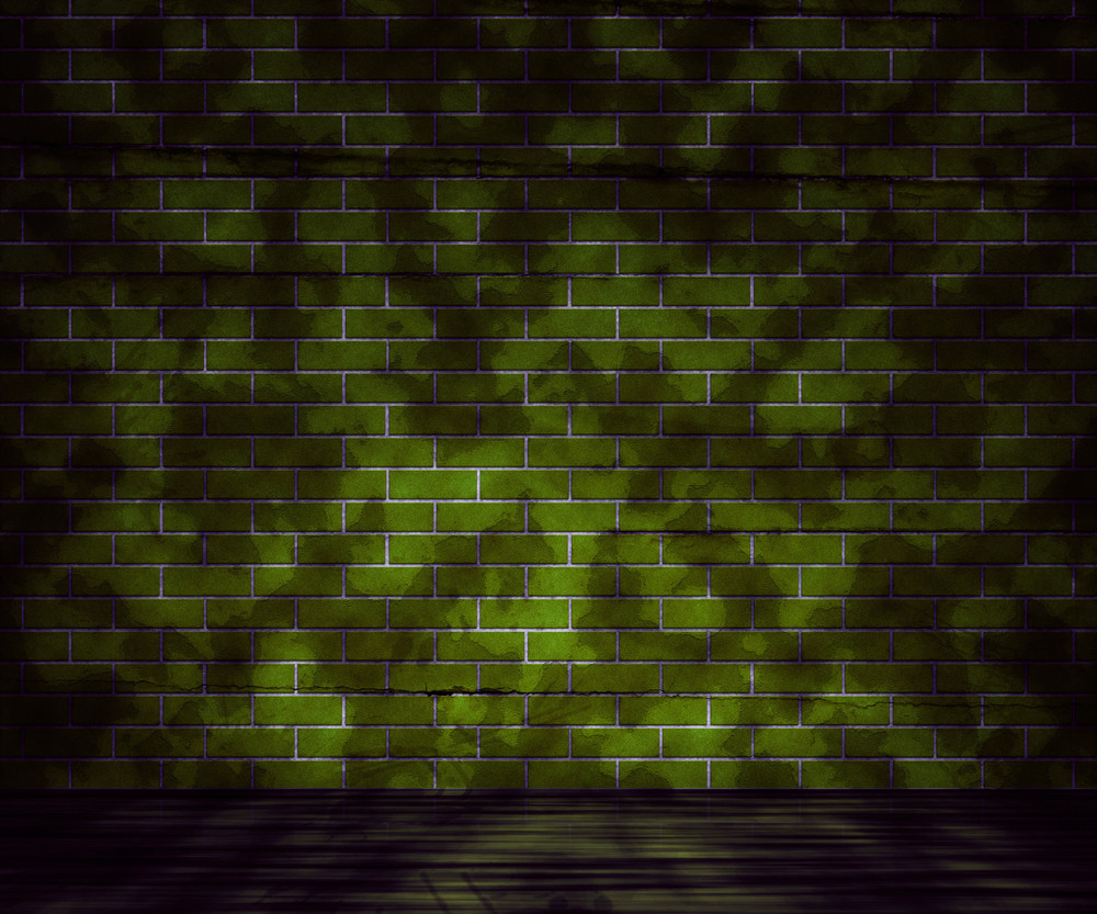 Grunge Green Brick Wall Background