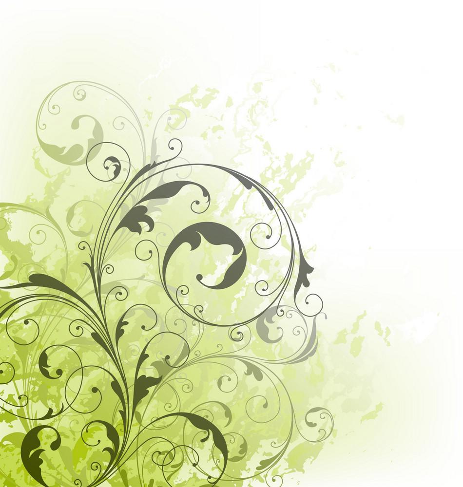 Grunge Green Floral Background Vector Illustration