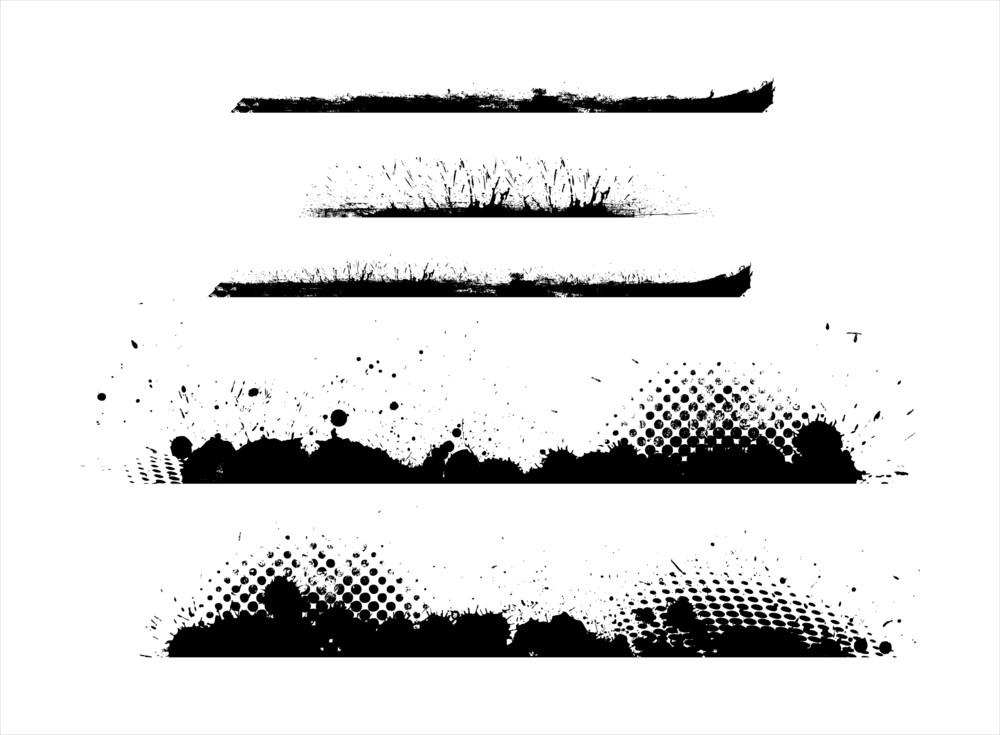 Grunge Halftone Separators Vectors