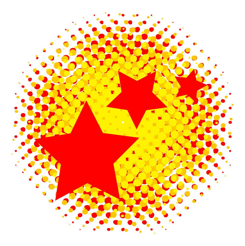 Grunge Halftone Stars Background