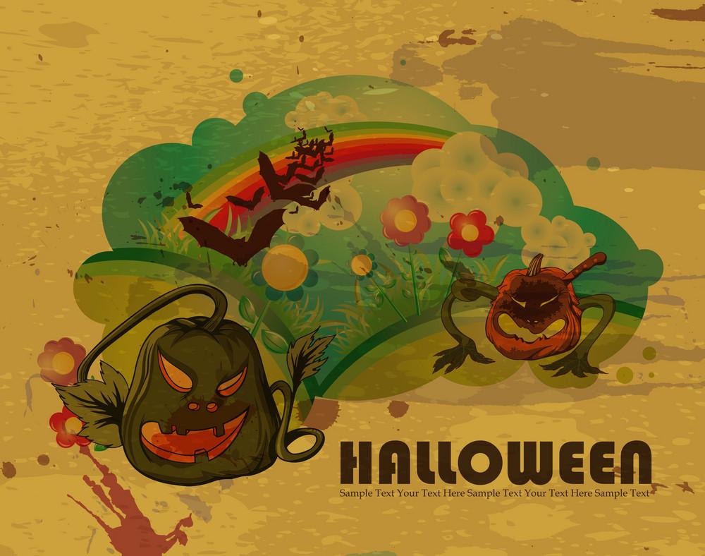Grunge Halloween Background Vector Illustration
