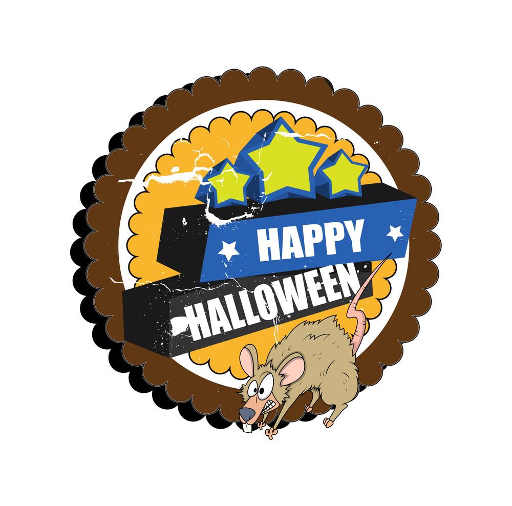 Grunge Halloween Banner With Scared Rat
