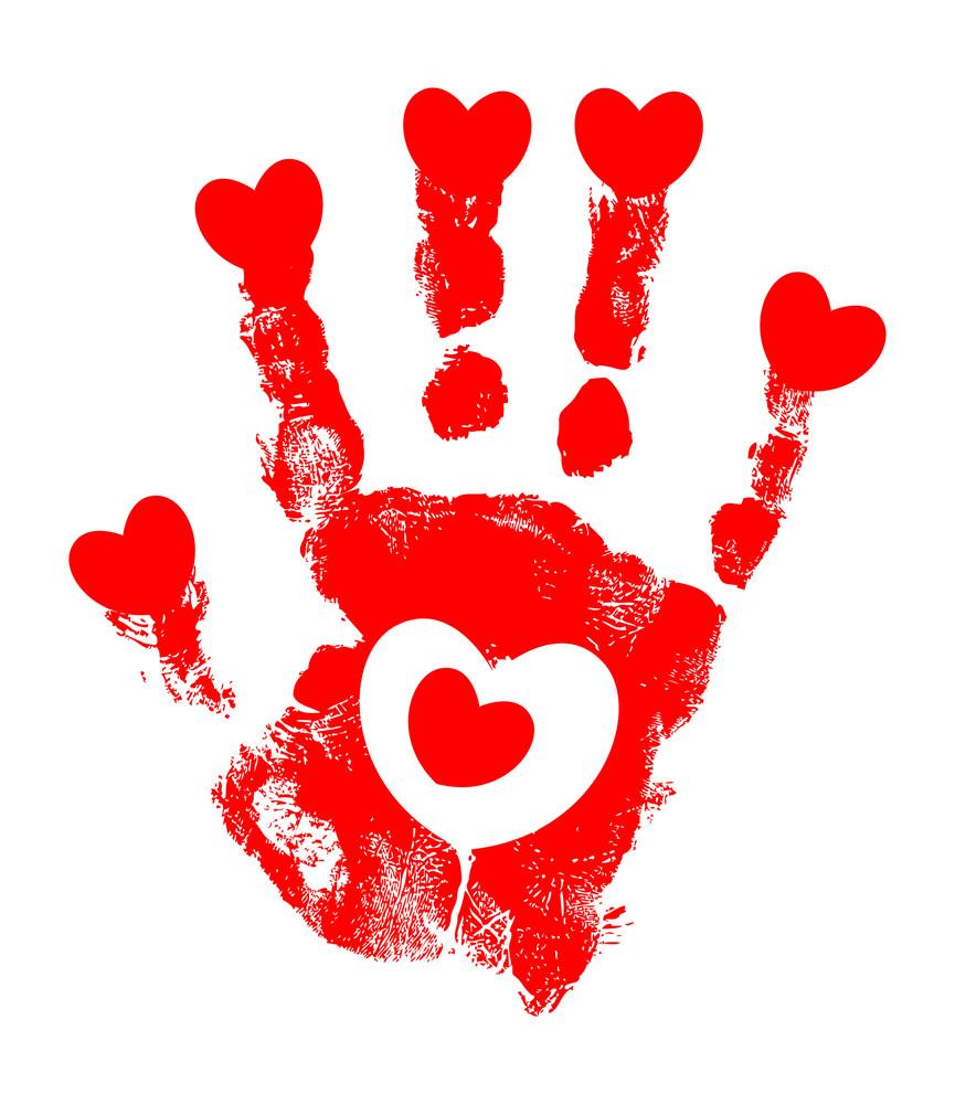 Grunge Hearts Hands Texture Design