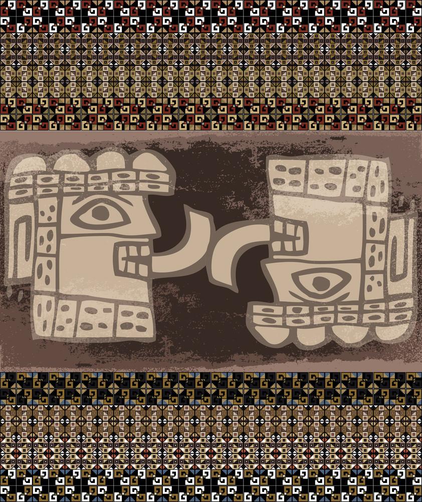 Grunge Inca Icon. Vector Illustration