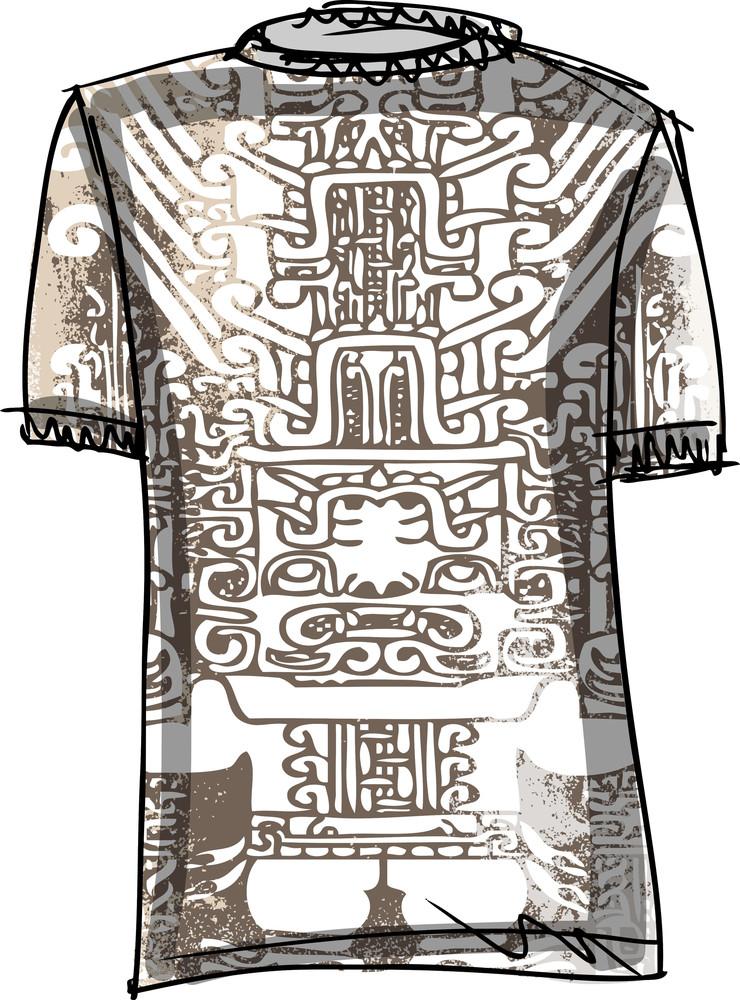 Grunge Inca Tee. Vector Illustration