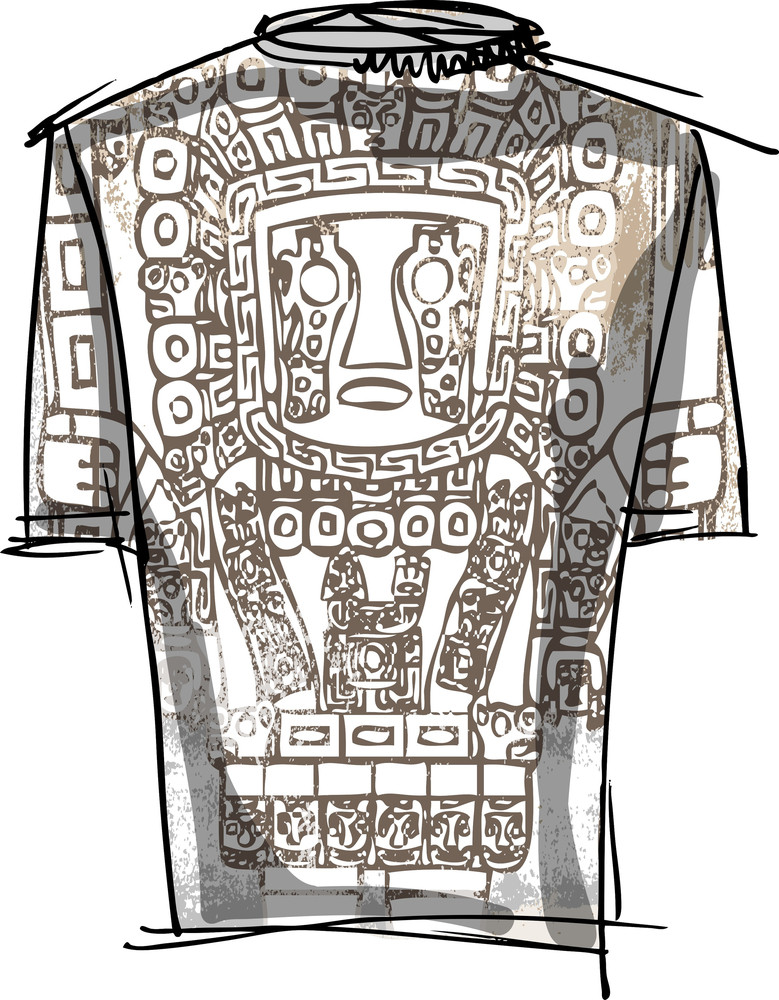 Grunge Inca Tee. Vector Illustration