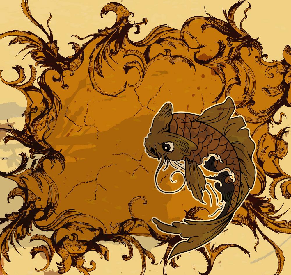 Grunge Japanese Background Vector Illustration