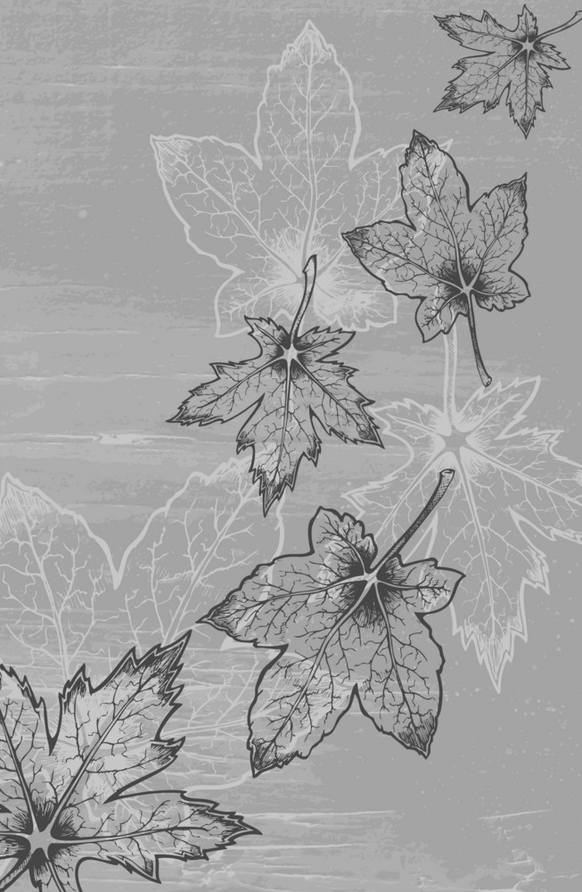 Grunge Leaves Background Vector Illustration