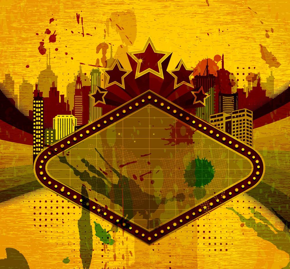 Grunge Neon Sign Vector Illustration