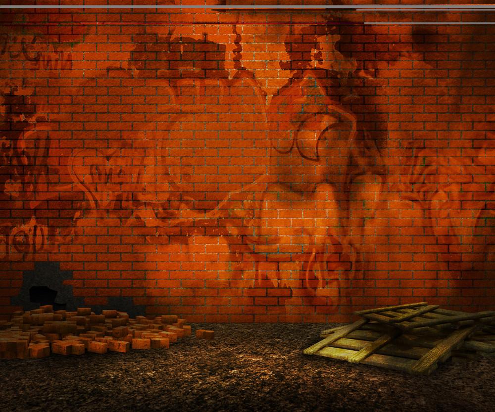 Grunge Orange Brick Backyard Background