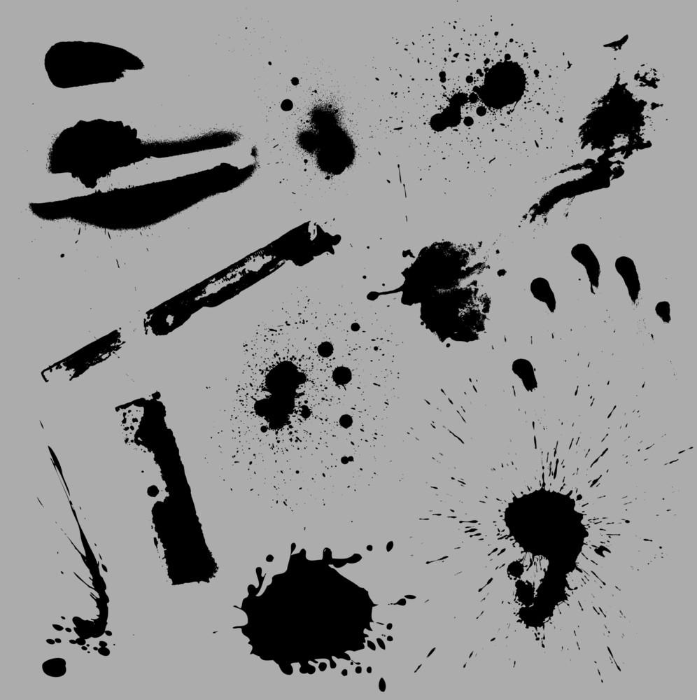 Grunge Paint Splash N Strokes Vector