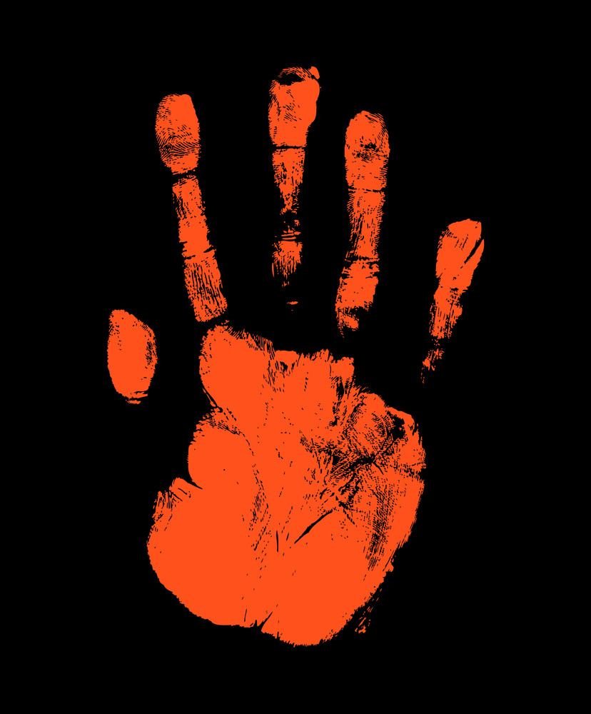Grunge Red Hand Print