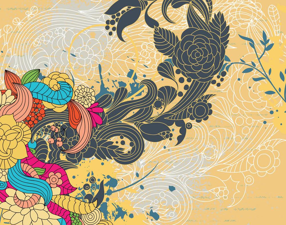 Grunge Retro Floral Background Vector Illustration