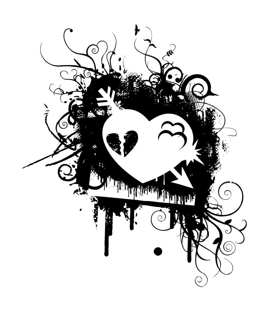 Grunge Retro Flourish Heart Graphic Banner