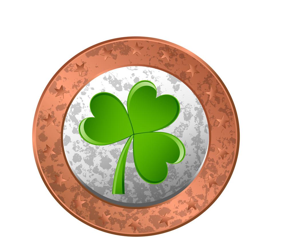 Grunge Retro Shamrock Coin