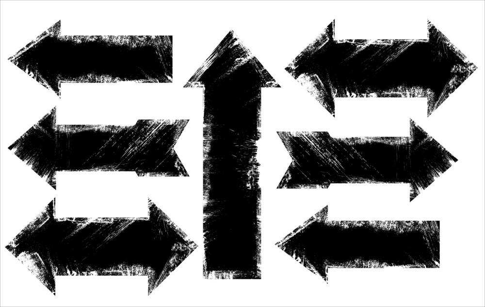 Grunge Rusty Edges Arrows Vector Set