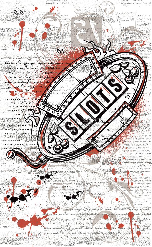 Grunge Slots Machine Vector T-shirt Design