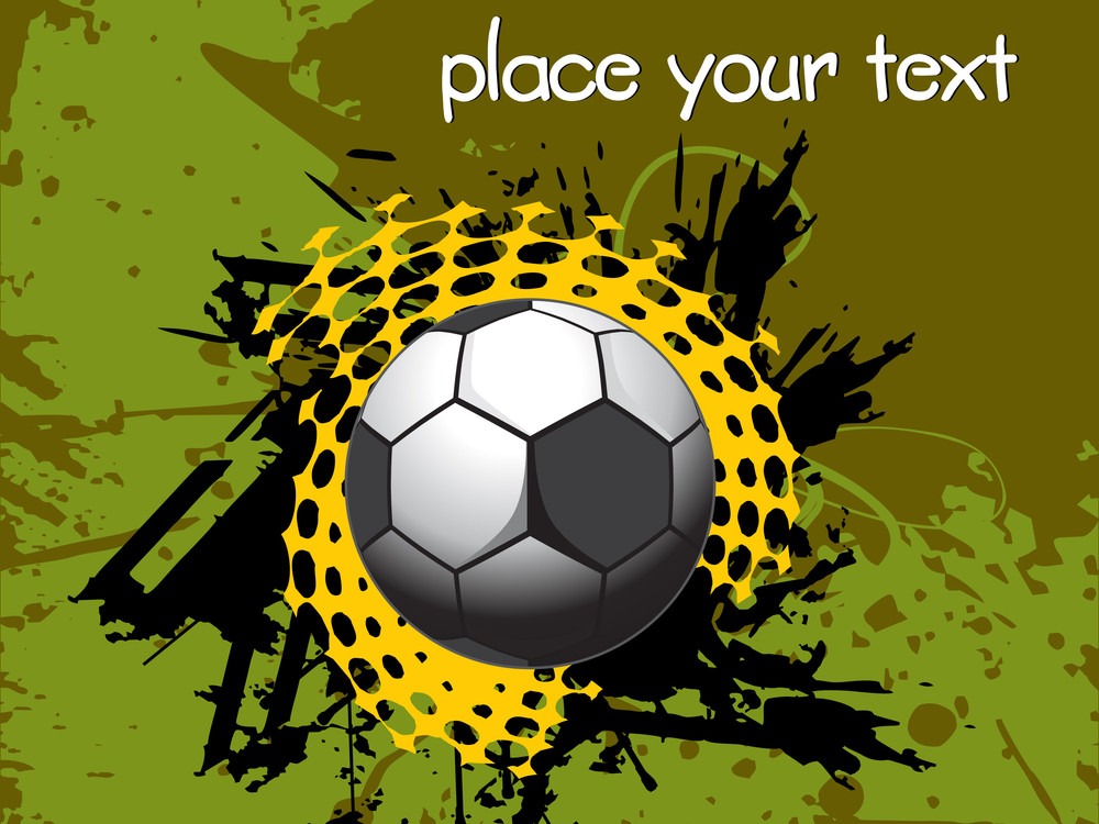 Grunge Soccer Ball With Place For Text