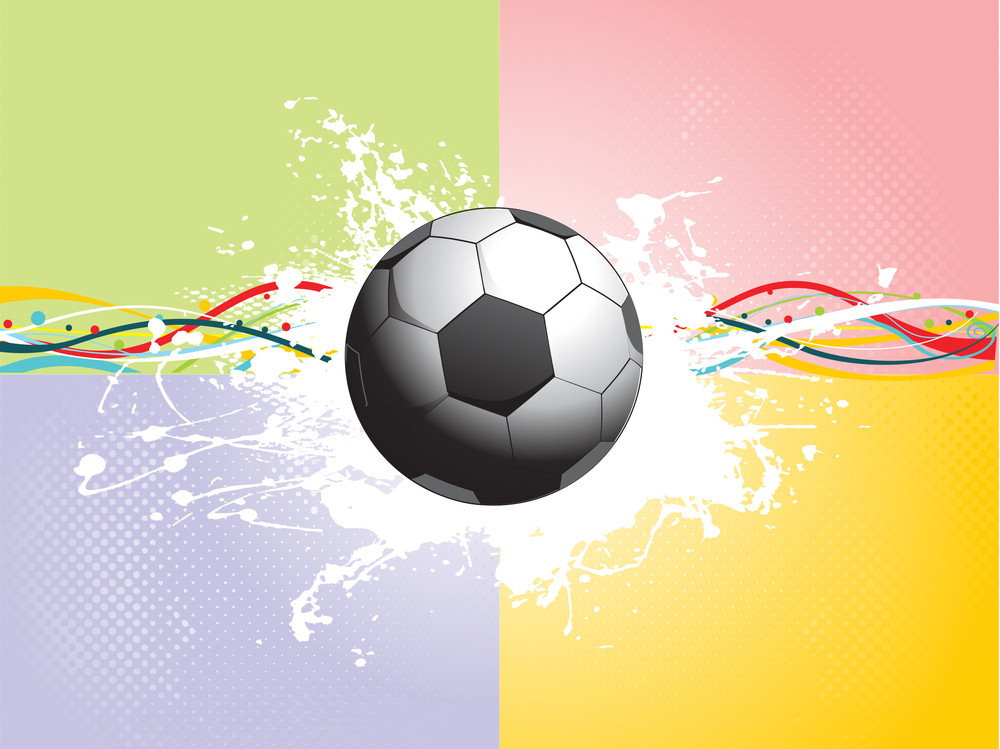 Grunge Soccer With Colorful Stripes