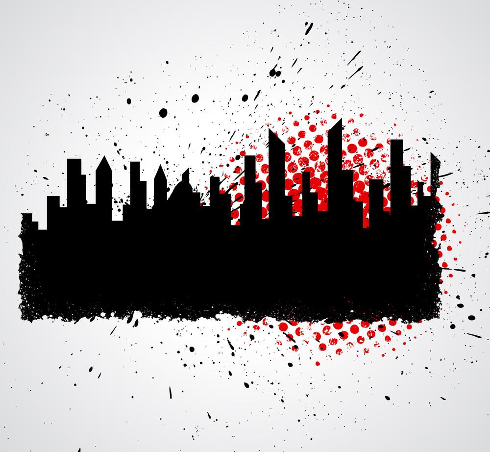 Grunge Splash Skyline Banner