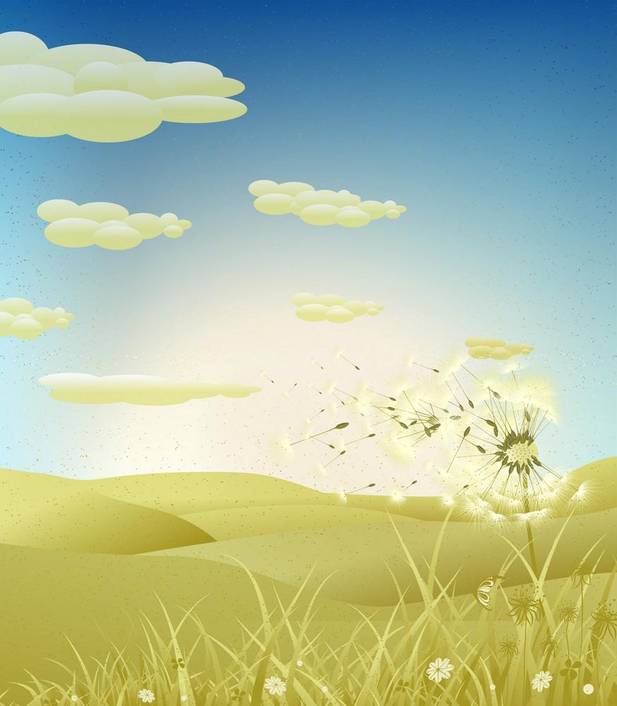 Grunge Spring Background With Dandelion Vector Illustration
