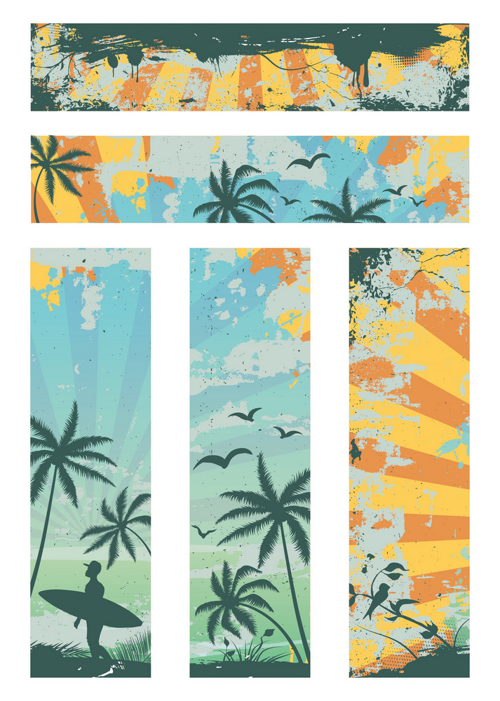 Grunge Summer Banners Vector Illustration