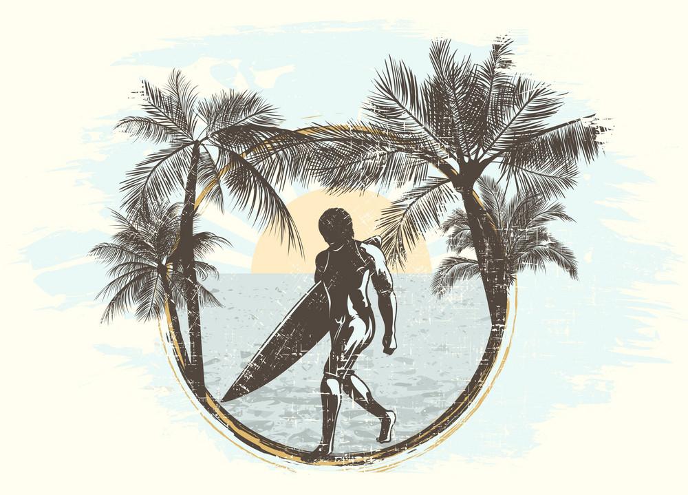 Grunge Summer Frame Vector Illustration