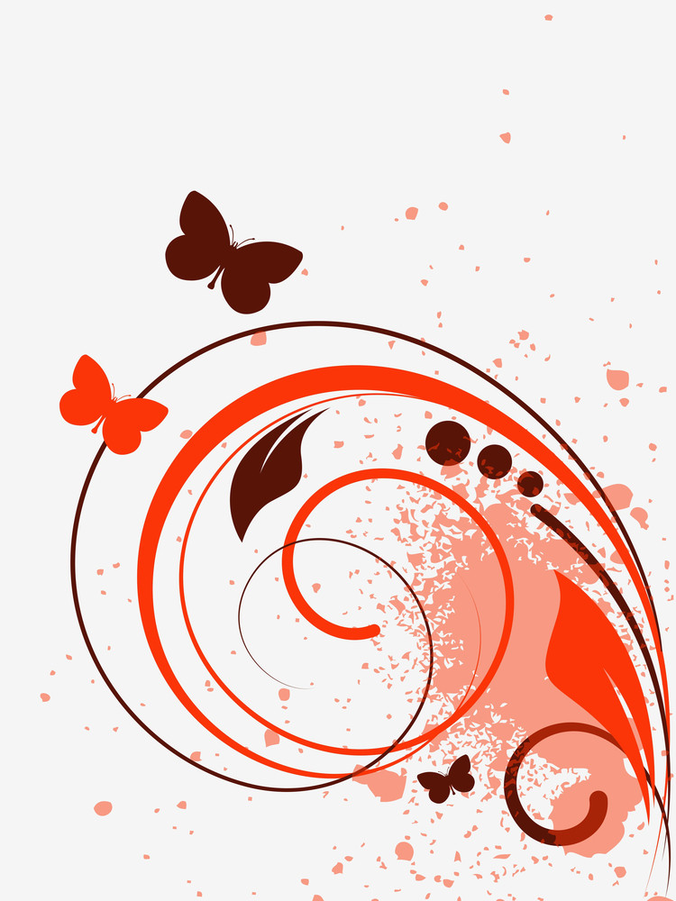 Grunge Swirls And Butterfly Vector