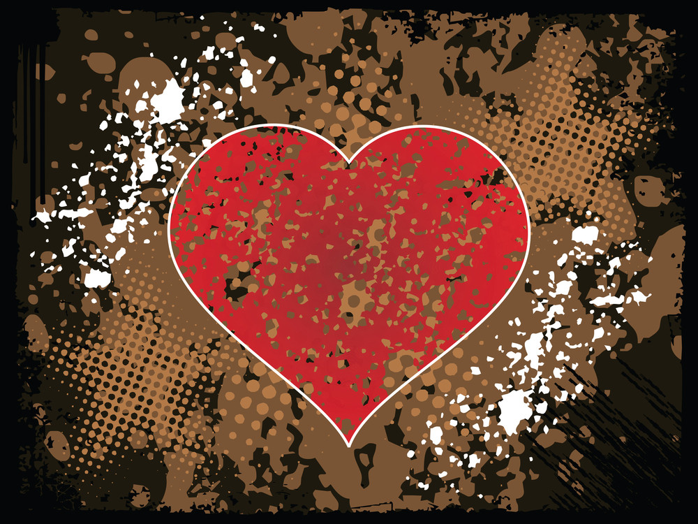 Grunge Vector Background With Red Heart