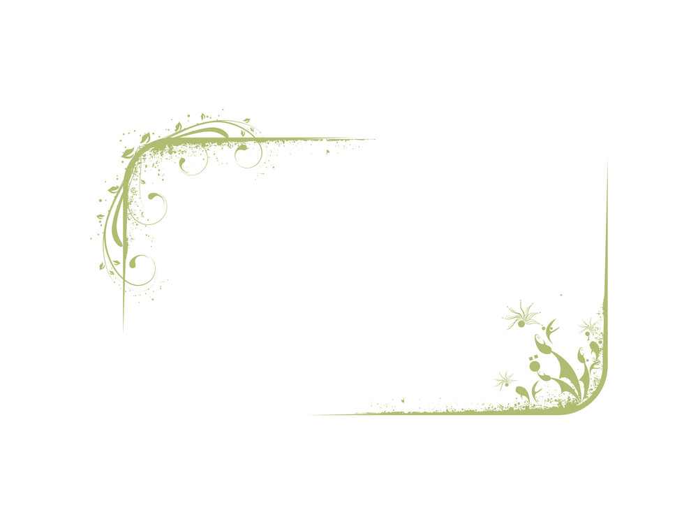 Grunge Vector Frame With Green Flowers