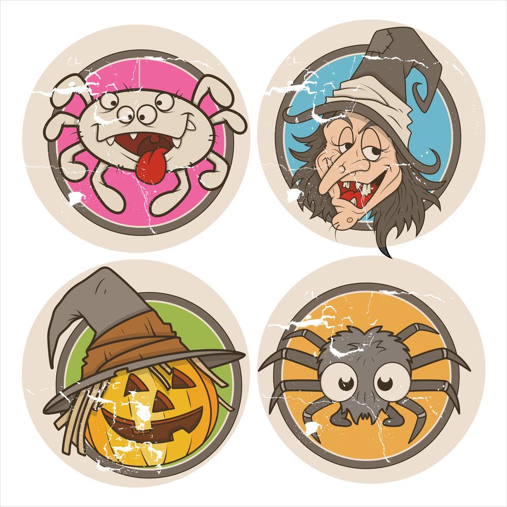 Grunge Vector Halloween Stickers