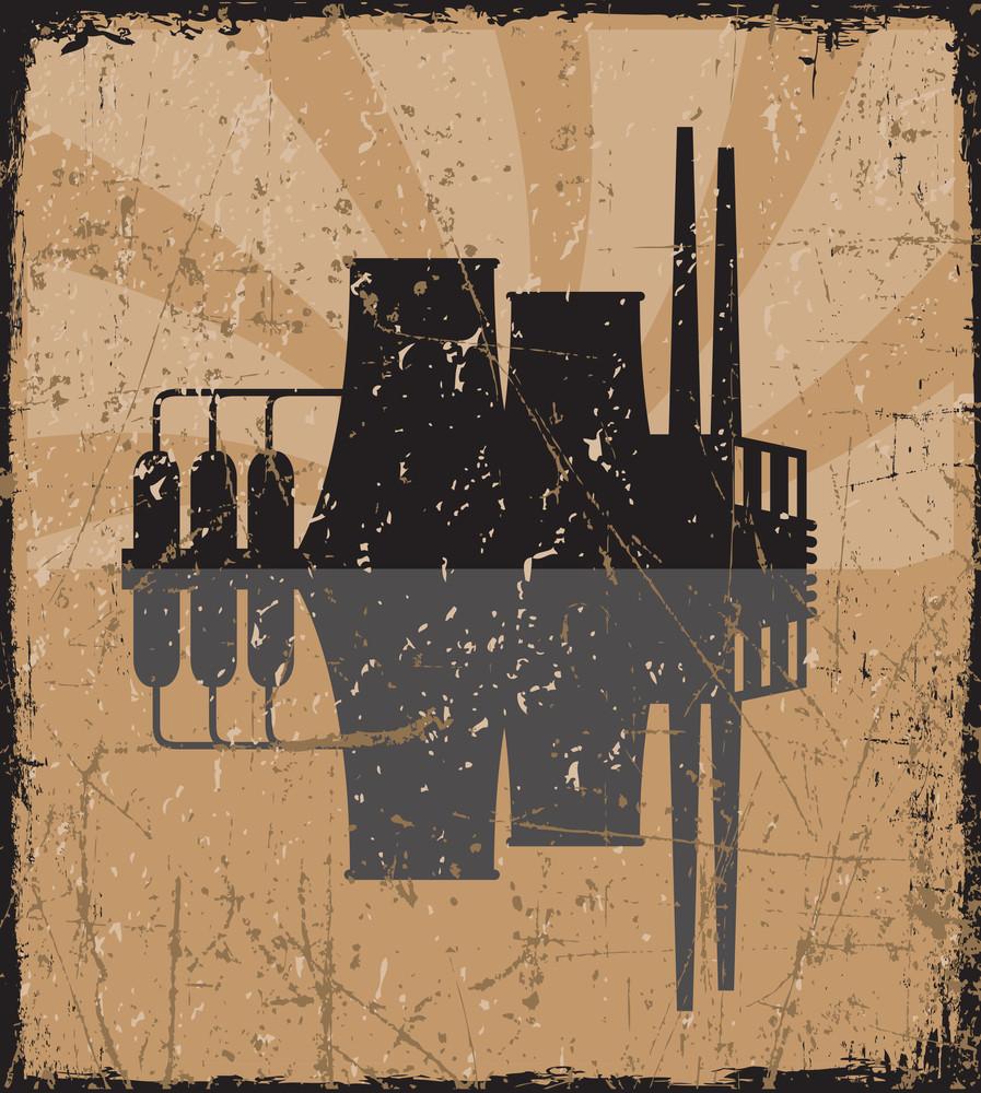 Grunge Vector Illustration Of Factory.