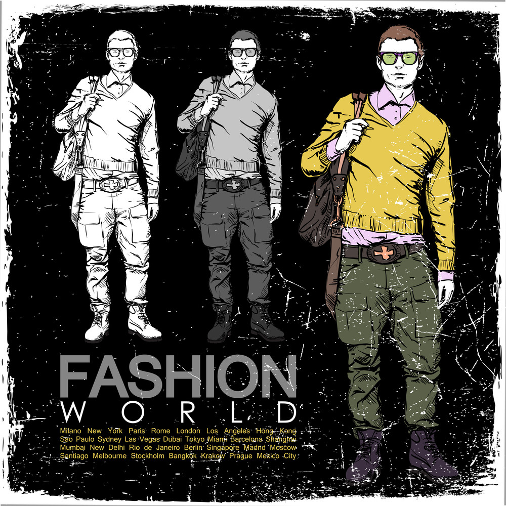 Grunge Vector Illustration Of Stylich Dude On Black Background.