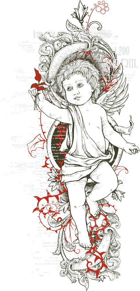 Grunge Vector T-shirt Design With Angel