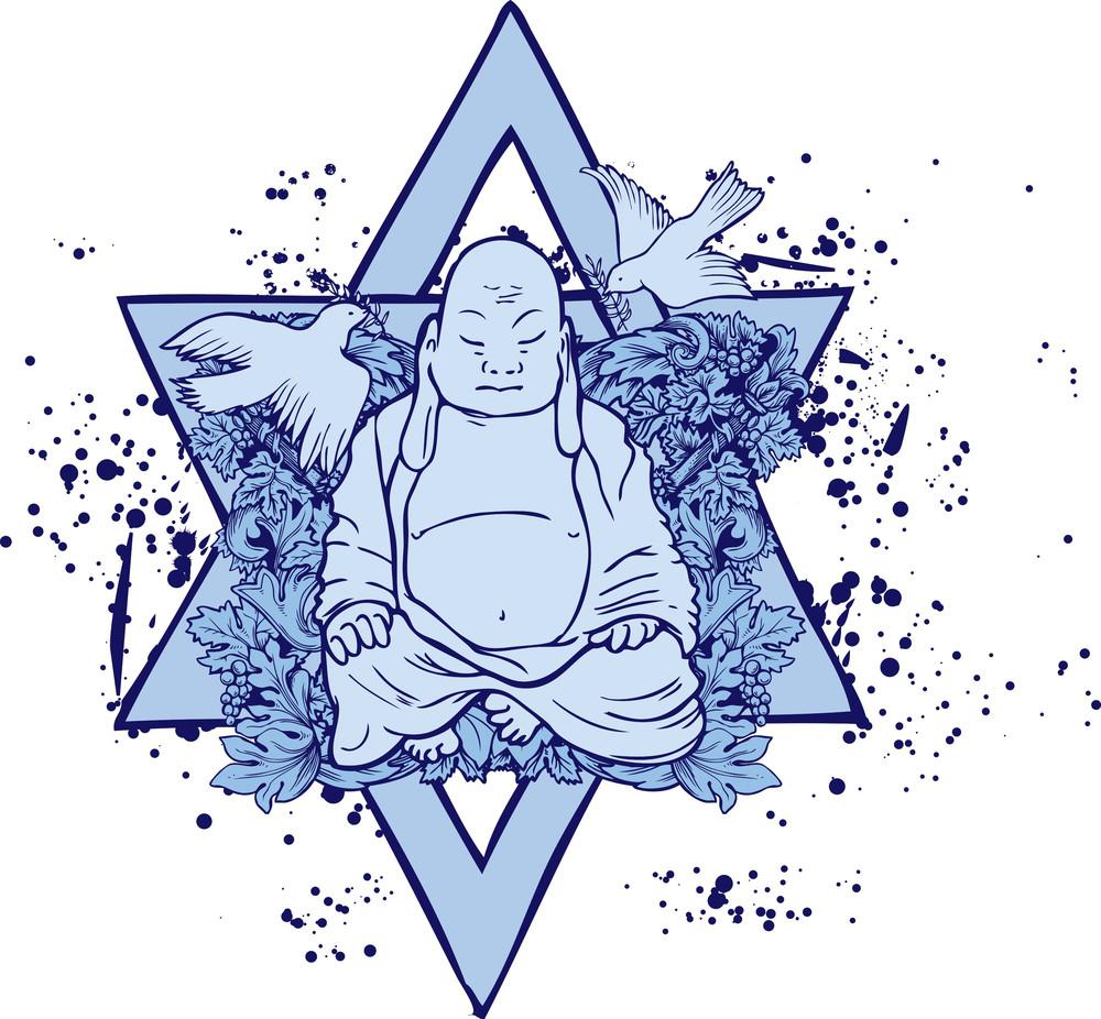 Grunge Vector T-shirt Design With Buddha