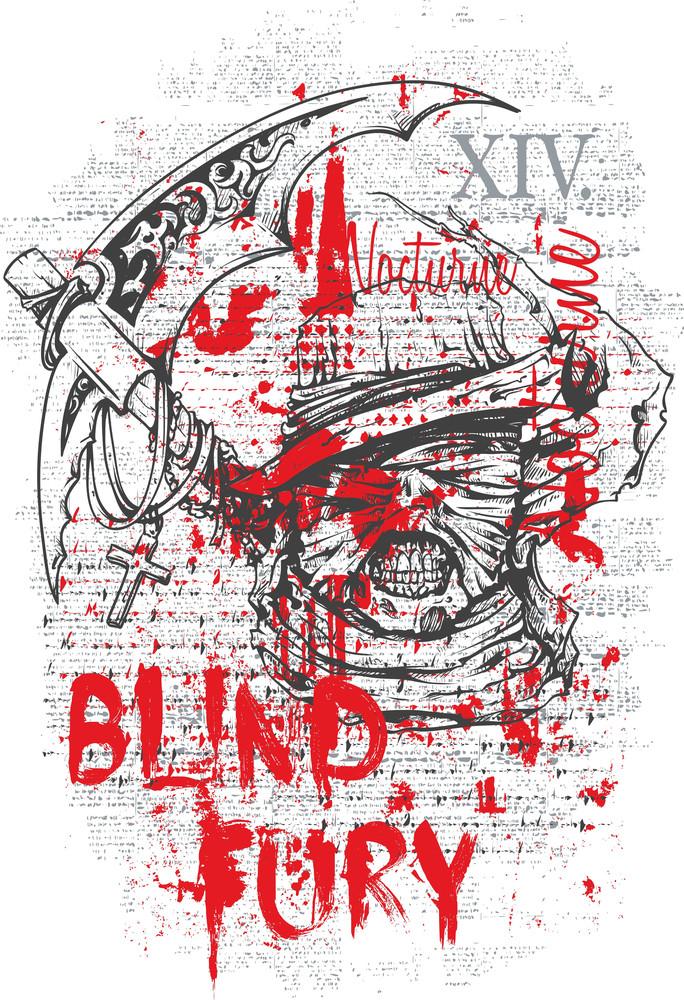 Grunge Vector T-shirt Design With Death