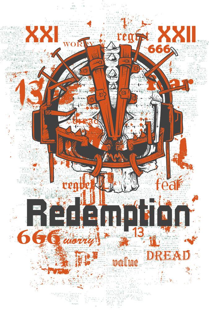 Grunge Vector T-shirt Design With Futuristic Skull