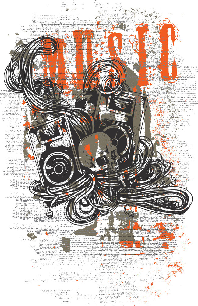 Grunge Vector T-shirt Design With Skull And Speakers