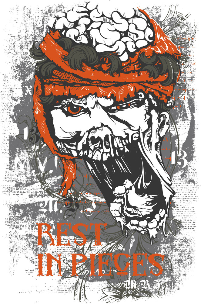 Grunge Vector T-shirt Design With Zombie