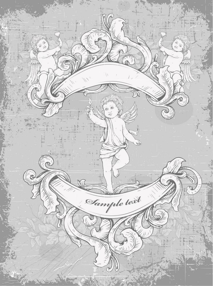 Grunge Vintage Background With Angel Vector Illustration