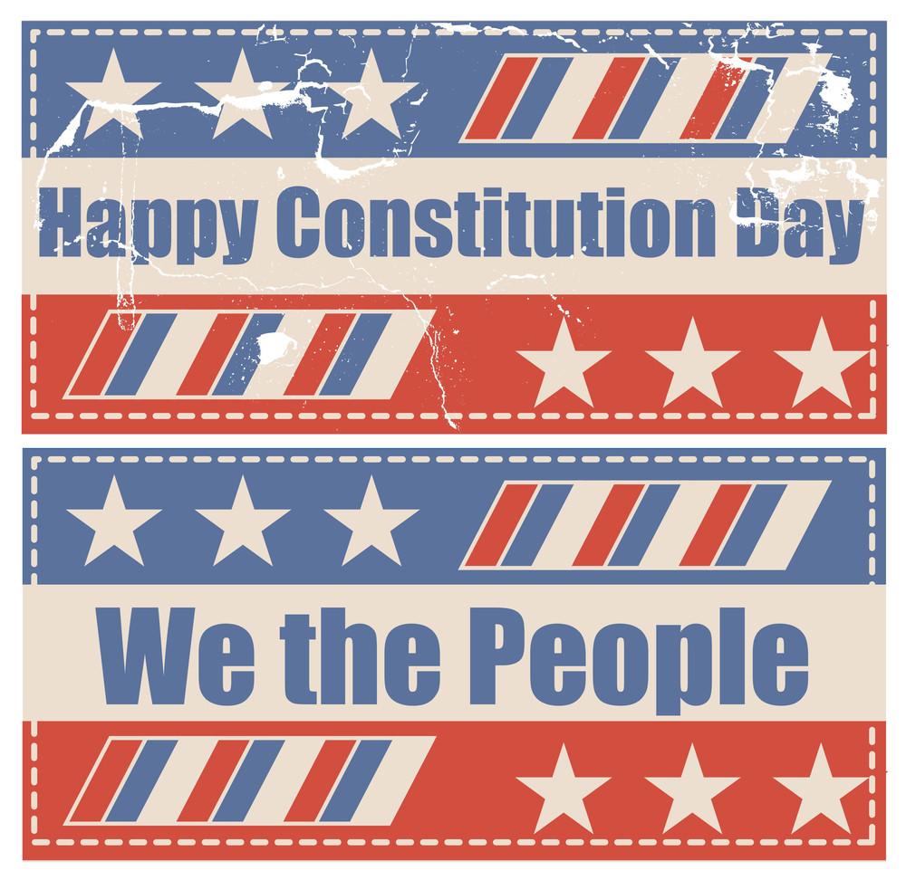 Grunge Vintage Constitution Day Vector Illustration