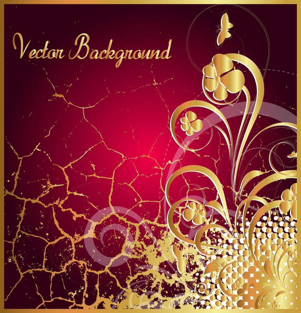 Grunge Wall Golden Floral Background