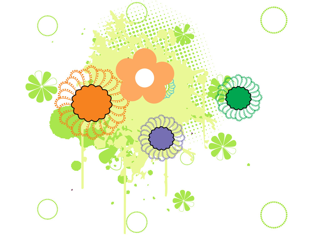 Grunge With Flower Illustration