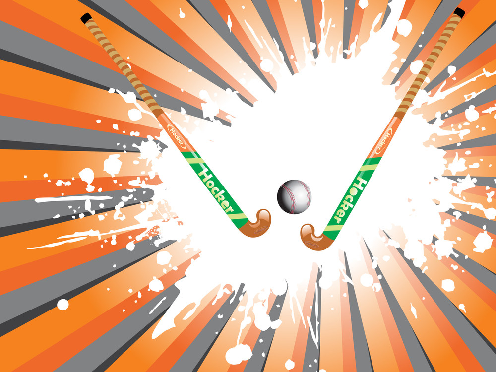 Grunge With Hockey Stick And Ball