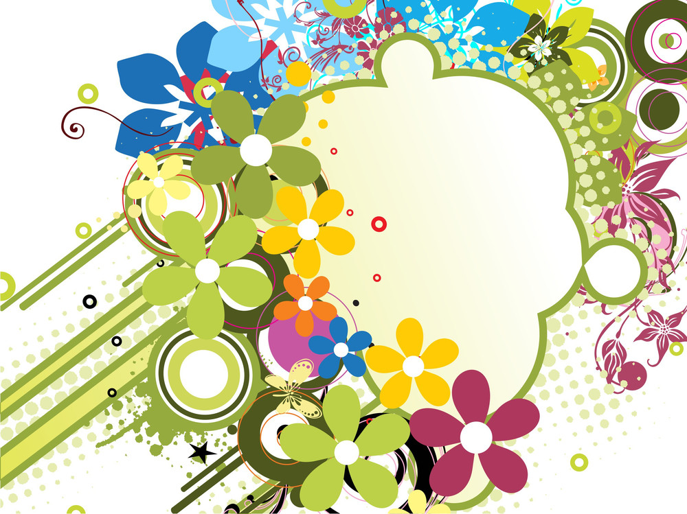 Grungy Background With Colorful Blossom