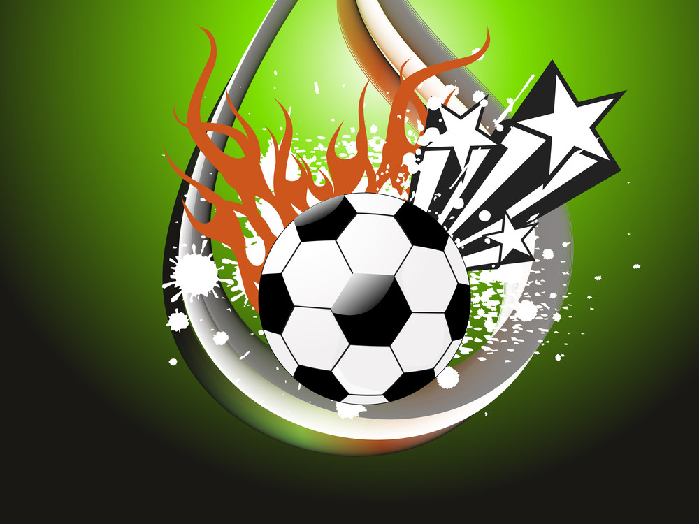 Grungy Background With Fiery Football
