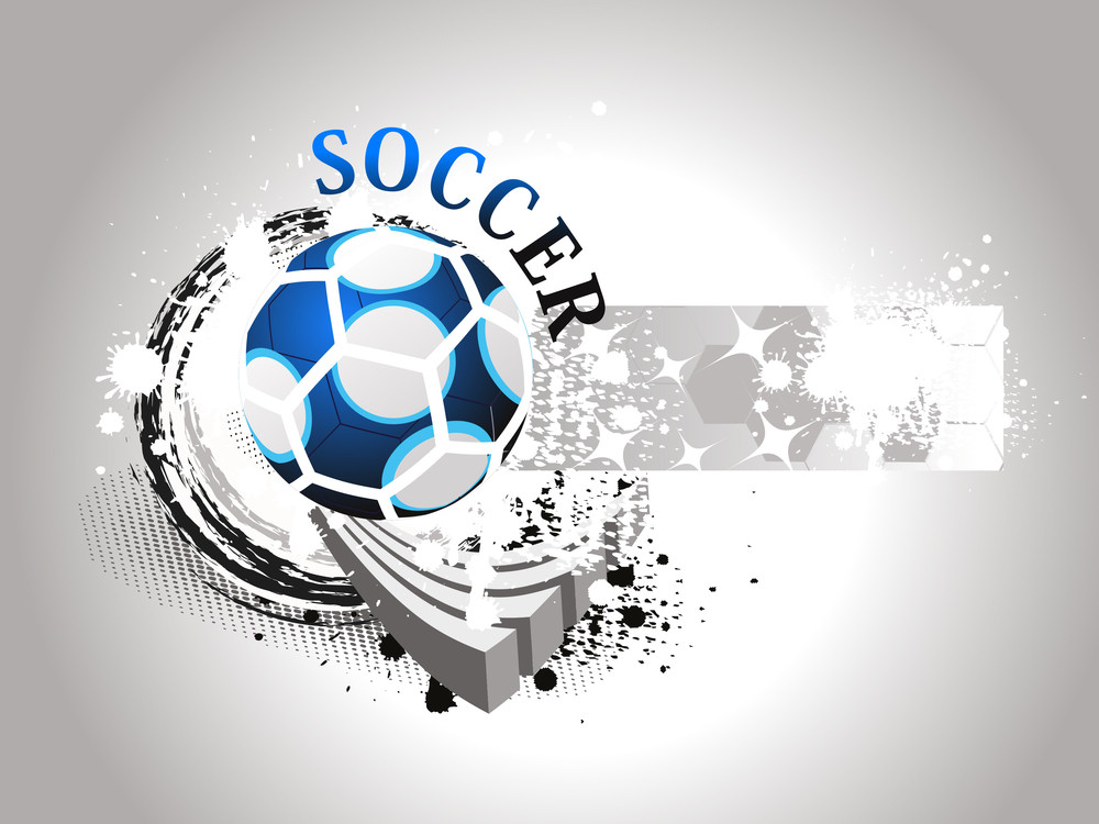 Grungy Background With Isolated Blue Soccer
