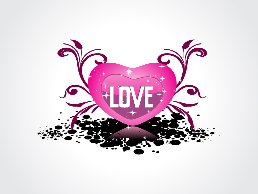Grungy Background With Isolated Pink Heart
