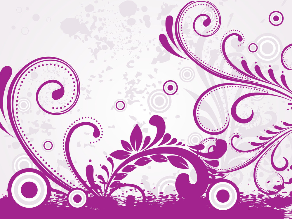 Grungy Background With Purple Floral